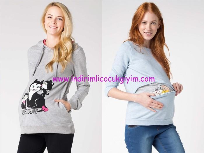 DeFacto 2015 baskılı hamile sweatshirt modelleri