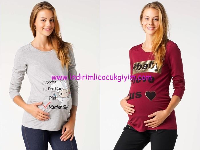 DeFacto 2015 baskılı hamile tişört modelleri