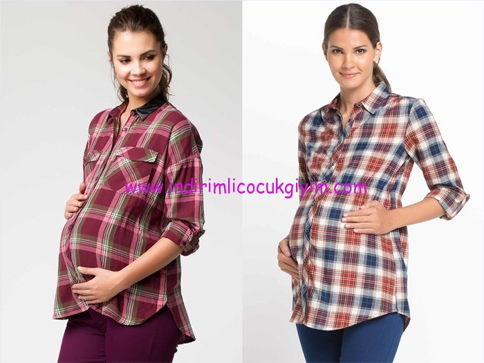 DeFacto 2015 kareli hamile gömlekleri