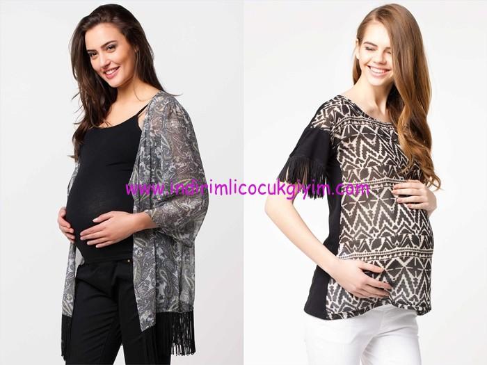 DeFacto desenli püsküllü hamile bluz modelleri