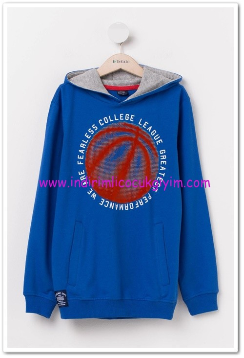 DeFacto genç erkek mavi kapşonlu sweatshirt-30 TL