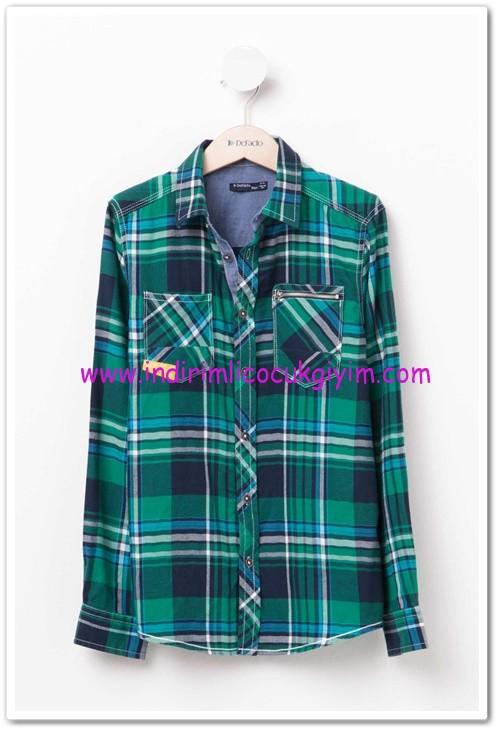 DeFacto genç erkek yeşil ekose gömlek-30 TL