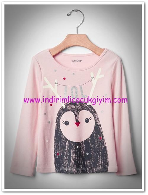 Gap kız çocuk baskılı pembe sweatshirt-40 TL