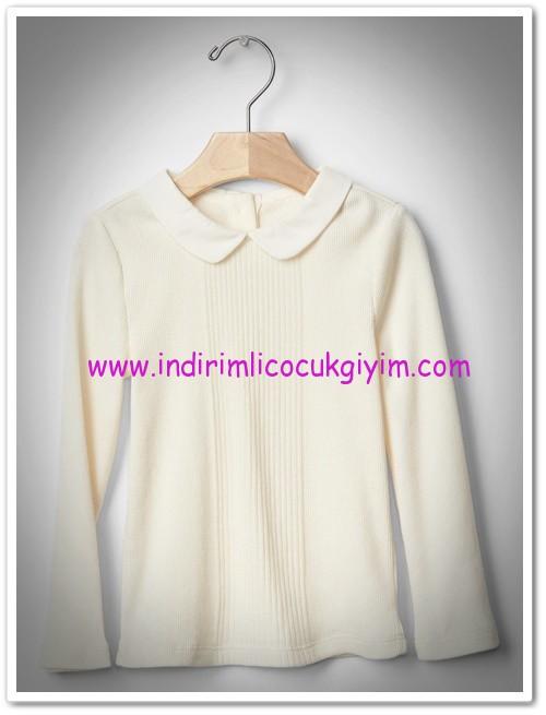 Gap kız çocuk fildişi fitilli yakalı tişört-80 TL