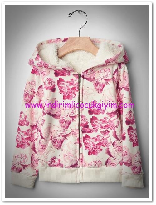Gap kız çocuk içi polar çiçek desenli kapşonlu sweatshirt-140 TL