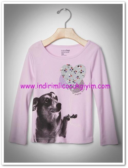 Gap kız çocuk lila köpek baskılı tişört-40 TL