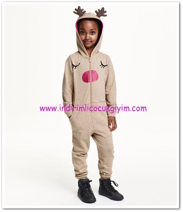 HM-kız çocuk bej kapşonlu tulum-50 TL