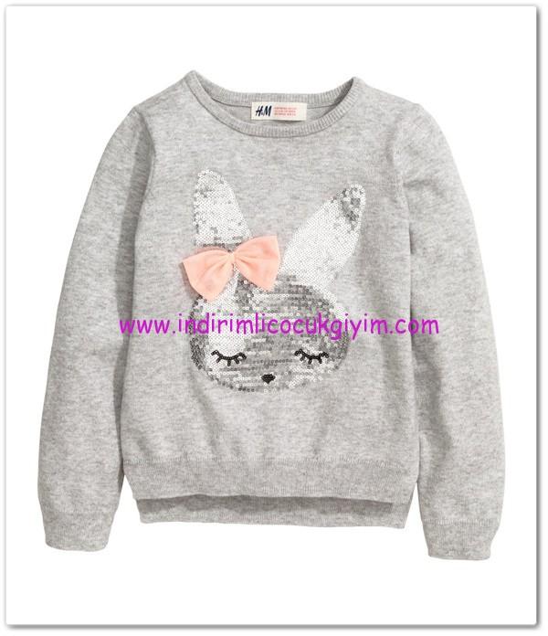 HM-kız çocuk gri tavşanlı kazak-40 TL