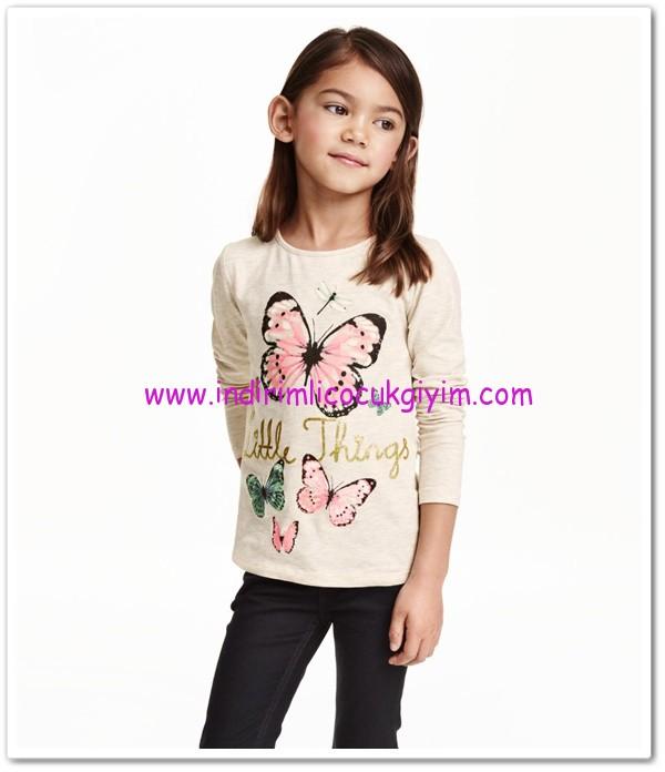 HM-kız çocuk kelebekli tişört-15 TL