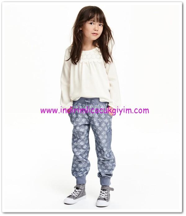 HM-kız çocuk mavi desenli pantolon-35 TL