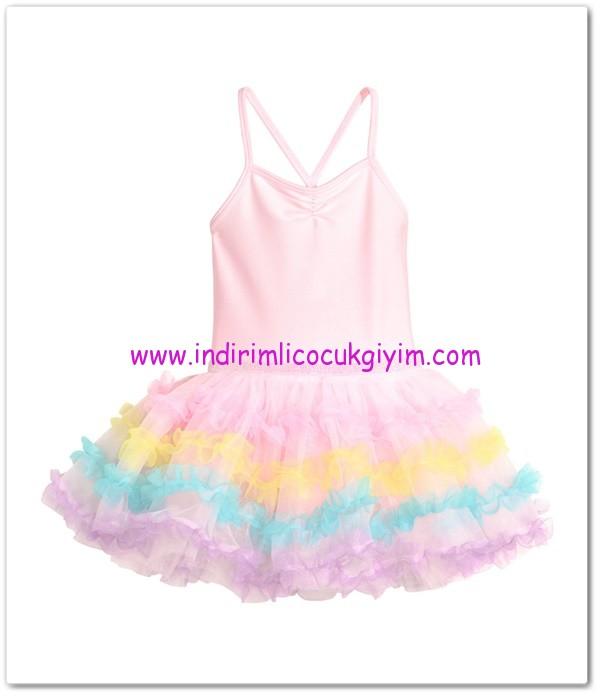 HM-kız çocuk pembe bale elbisesi-60 TL
