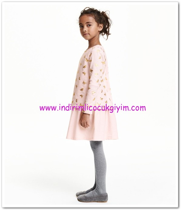 HM-kız çocuk pembe kelebekli elbise-40 TL
