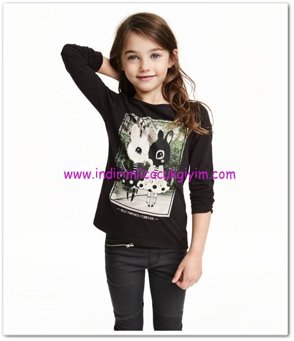 HM-kız çocuk-siyah tavşanlı tişört-15 TL