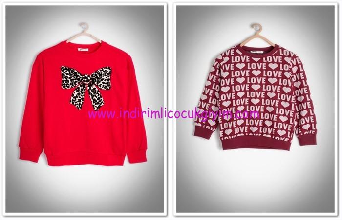 Koton Kids kız çocuk kırmızı kazak modelleri
