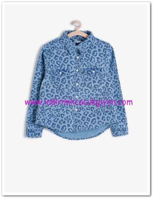 Koton kız çocuk desenli indigo gömlek-20 TL