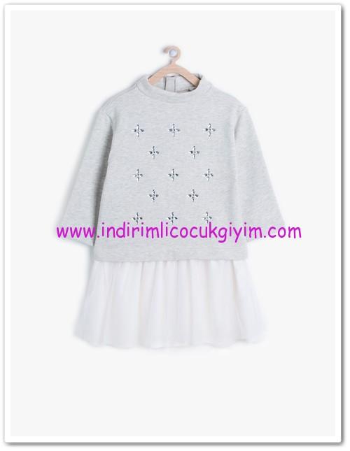 Koton kız çocuk gri desenli elbise-18 TL