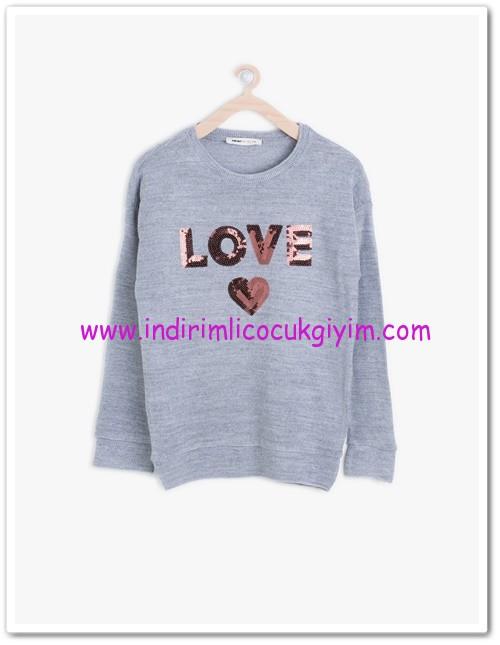 Koton kız çocuk love baskılı gri sweatshirt-15 TL