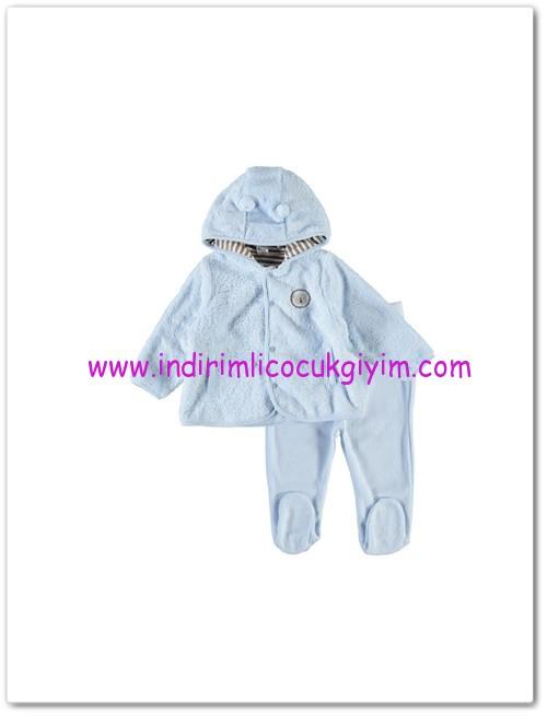 LCW yenidoğan erkek bebek mavi kapüşonlu üst-30 TL