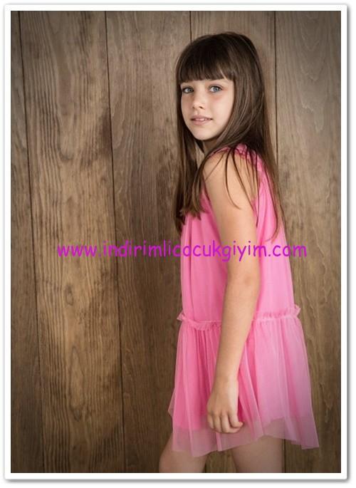 Mango kız çocuk parlak pembe tül elbise-60 TL