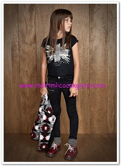 Mango kız çocuk siyah fermuarlı skinny jean pantolon-50 TL