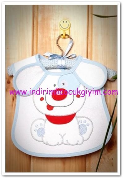 Tozlu Giyim köpekli bebek önlüğü mavi-13 TL