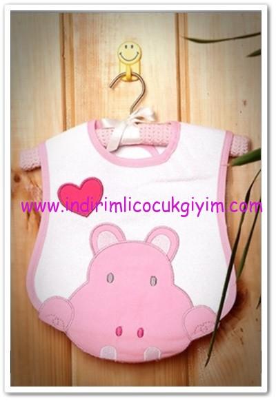 Tozlu Giyim pembe hipopotamlı kız bebek önlüğü-13 TL
