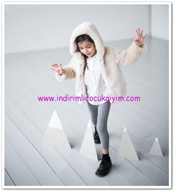 Zara ekru kız bebek kürk palto-100 TL