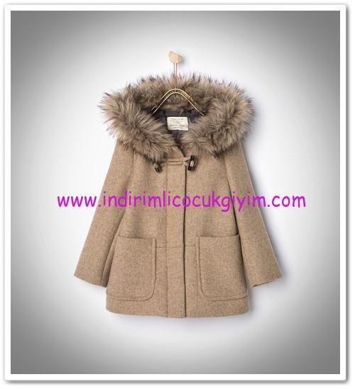 Zara kız çocuk başlıklı palto-camel-176 TL