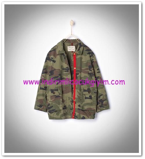Zara kız çocuk haki kamuflaj ceket-100 TL