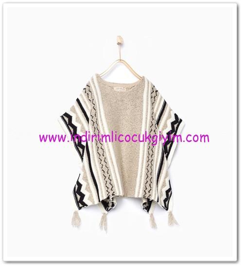 Zara kız çocuk jakarlı örme triko panço-80 TL