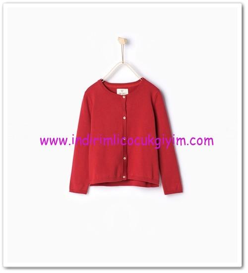 Zara kız çocuk kırmızı düğmeli basic hırka-50 TL
