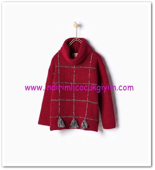 Zara kız çocuk kırmızı ponponlu boğazlı kazak-80 TL