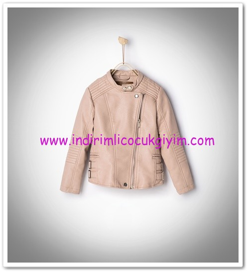 Zara kız çocuk pembe deri ceket-150 TL