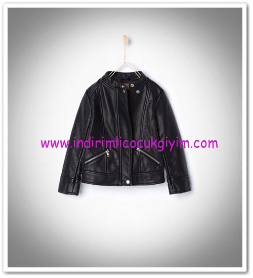 Zara kız çocuk siyah deri biker ceket-150 TL