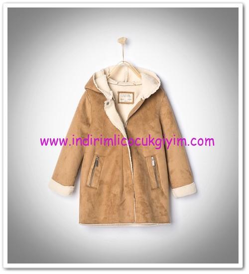 Zara kız çocuk taba kapşonlu palto-150 TL