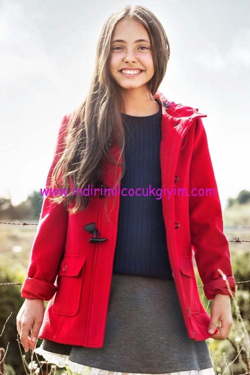 DeFacto genç kız kırmızı kaşe kaban-80 TL