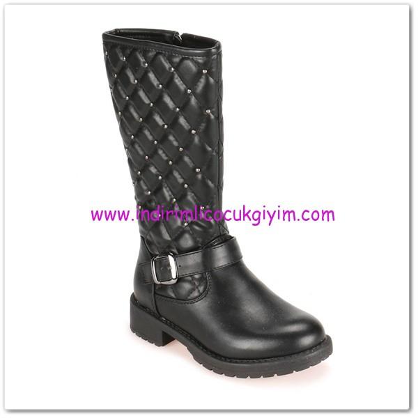 FLO kız çocuk siyah metal taşlı kapitone çizme-110 TL