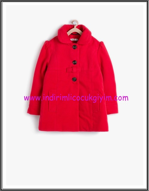 Koton kız çocuk kırmızı düğmeli kaban-60 TL