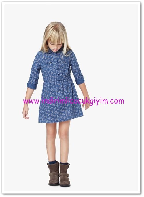 Mango kız çocuk desenli gömlek elbise-40 TL