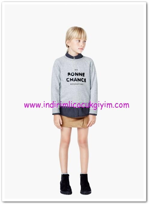Mango kız çocuk gri pullu koton sweatshirt-30 TL