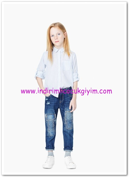 Mango kız çocuk koyu mavi jean pantolon-45 TL