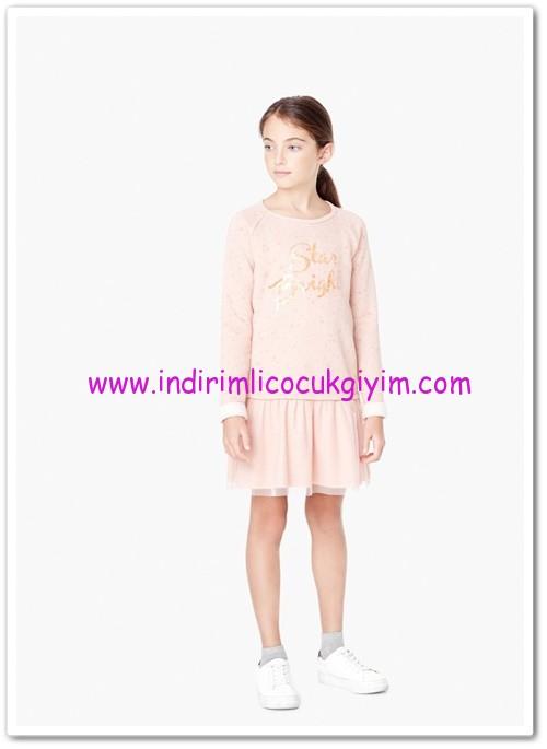 Mango kız çocuk pembe tül aplikeli elbise-40 TL