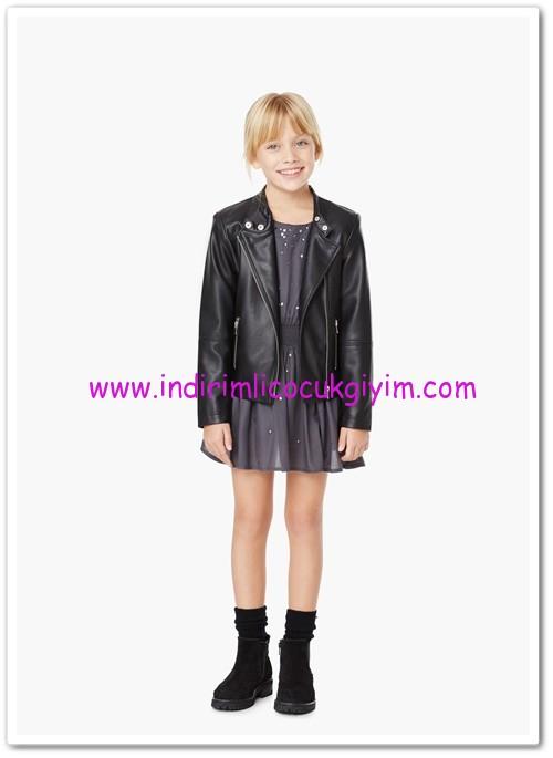Mango kız çocuk siyah motorcu deri ceket-50 TL