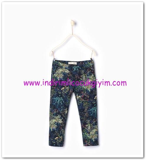 Zara kız çocuk floral desenli indigo pantolon-36 TL