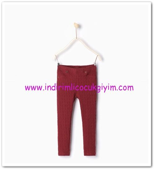 Zara kız çocuk kırmızı jakar pantolon-30 TL