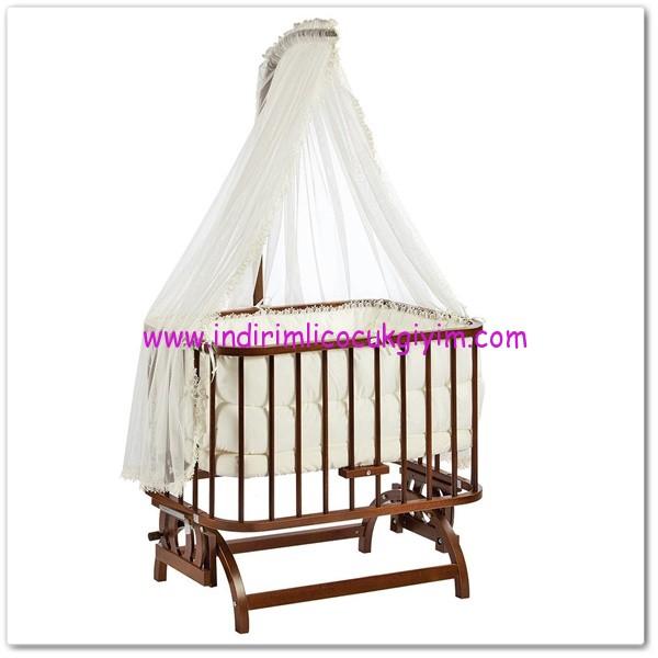 Baby Tech Anne Yanı Ceviz Beşik-650 TL