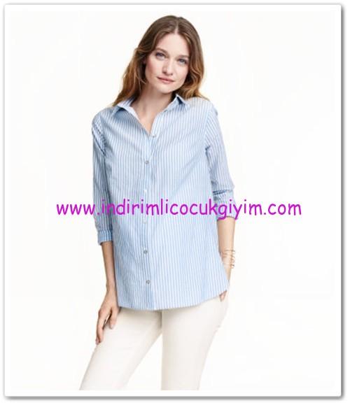 HM-açık mavi çizgili hamile gömlek-60 TL