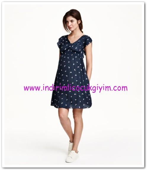 HM-fırfırlı kollu koyu mavi hamile elbise-100 TL