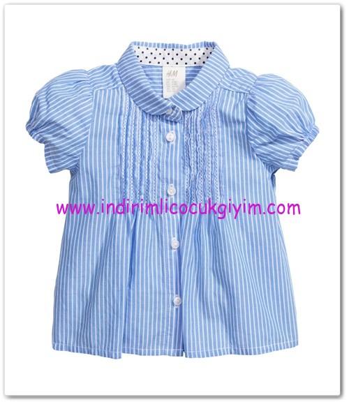 HM-kız bebek mavi çizgili bluz-25 TL