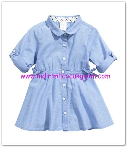 HM-kız bebek mavi pamuklu gömlek elbise-35 TL